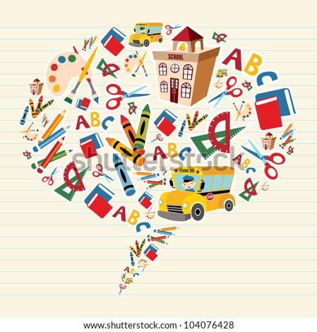 Set of school tools and Supplies composition in social bubble.  Vector file layered for easy manipulation and custom coloring. - stock vector