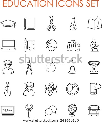 Set of science and education icons in thin line flat style - stock vector