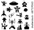 Set of Science Fiction and Fantasy Vector Icons - stock photo