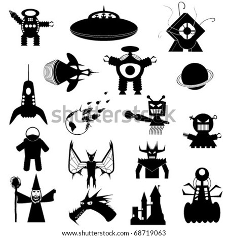 Set of Science Fiction and Fantasy Vector Icons - stock vector