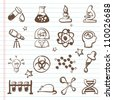 Set of science icons- Doodles - stock vector