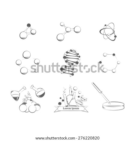 Set of science icons on the white background - stock vector