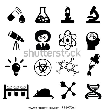 Set of science icons- Silhouettes - stock vector