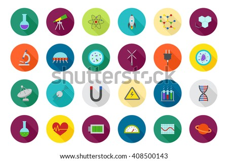 Set of 24 Science round colorful icons