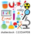 set of science stuff icon - stock vector