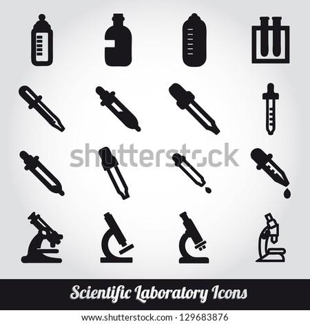 Set Scientific Laboratory Equipment Symbols Stock Vector 129683876 ...
