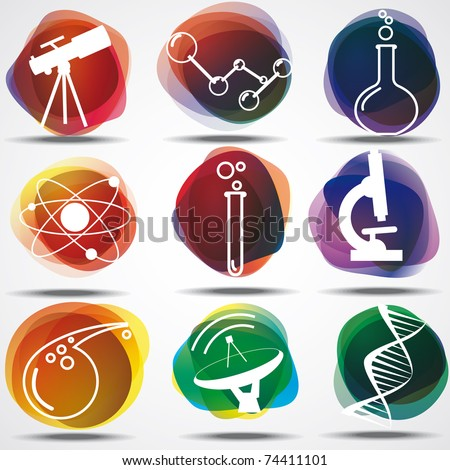 Set of scientific symbols - stock vector