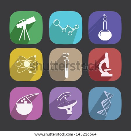Set of scientific Symbols. New style icons long shadow. - stock vector