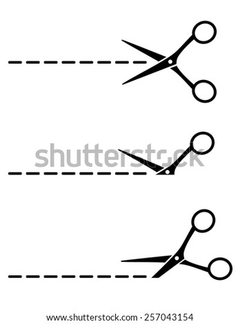 set of scissors icon with cut lines on white background - stock vector