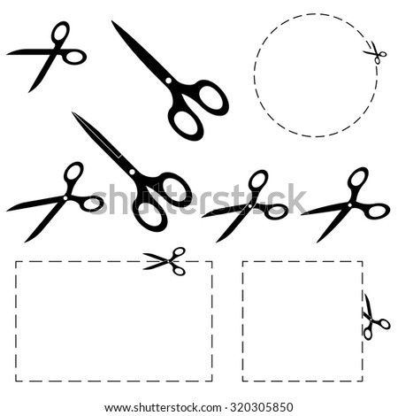 set of scissors with dashed lines for advertising usage - stock vector