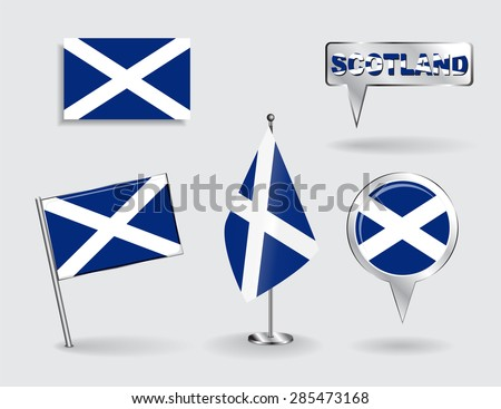 Set of Scottish pin, icon and map pointer flags. Vector illustration. - stock vector