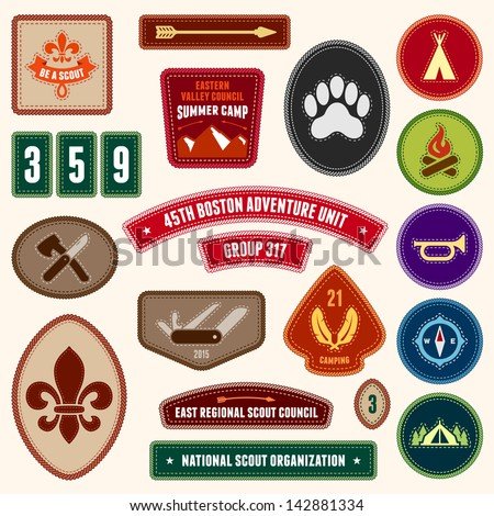 Set of scouting badges and merit badges for outdoor activities - stock vector