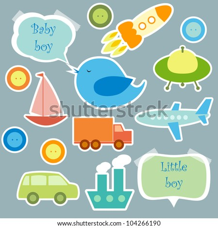 Set of scrapbook elements for baby boy - stock vector