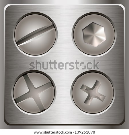 Set of screws and bolts on metal background. Vector illustration - stock vector