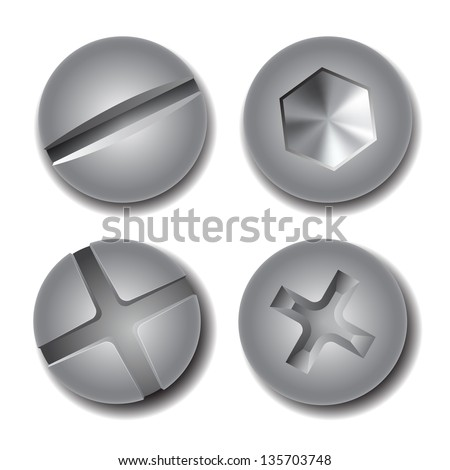 Set of screws and bolts on white background. Vector illustration - stock vector