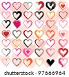 Set of scribble hearts with grungy texture. Vector - stock vector