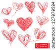 Set of 10 scribbled hand-drawn sketch hearts for Valentines Day design - stock photo