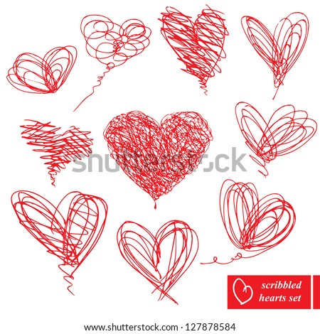 Set of 10 scribbled hand-drawn sketch hearts for Valentines Day design - stock vector