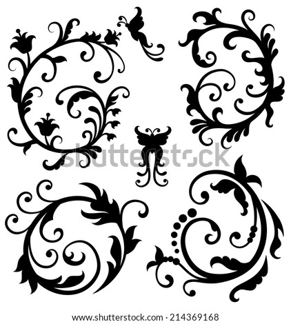 "Set of scrolls in a shape of ""c"" and ""o"". - stock vector"