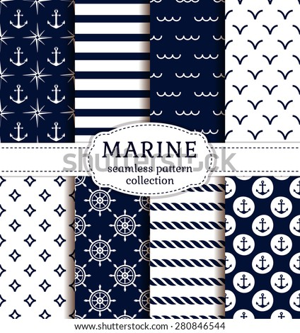 Set of sea and nautical backgrounds in dark blue and white colors. Sea theme. Seamless patterns collection. Vector illustration.  - stock vector