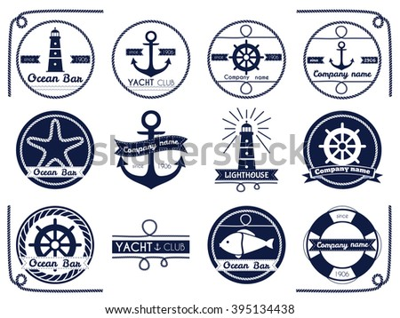Set of sea and nautical badger and label isolated on white background. Vector illustration.  - stock vector