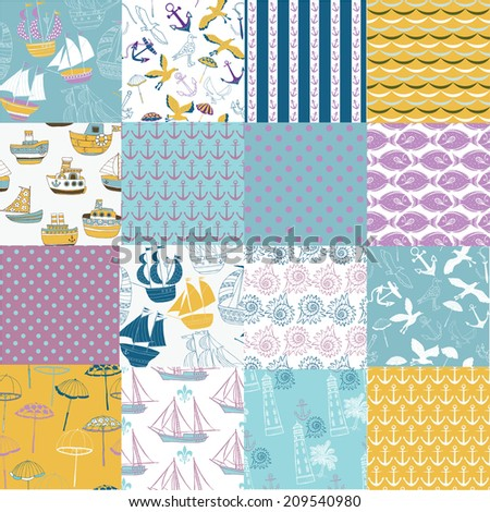 Set of sea and nautical seamless patterns - stock vector