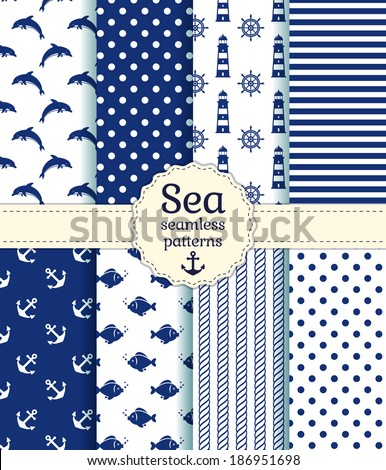 Set of sea and nautical seamless patterns in white and dark blue colors. Vector illustration.  - stock vector