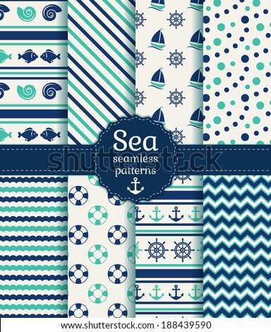 Set of sea and nautical seamless patterns in white, turquoise and dark blue colors. Vector illustration. - stock vector
