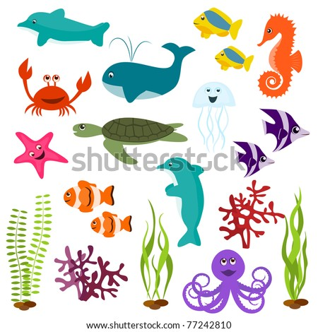 Set of sea animals - stock vector