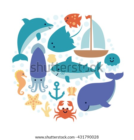 Set of sea animals in circle isolated on white background. Design for invitation, banner, card, poster, print. Art vector Illustration.  - stock vector