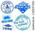 Set of sea food grunge rubber stamps on white, vector illustration - stock vector