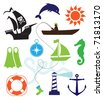 Set of sea icons - stock vector