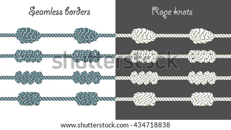 Set of sea rope borders with big decorative knots. Nautical knots can be used to make seamless border or as decorative elements. Decorative and simple rope brushes are included. - stock vector