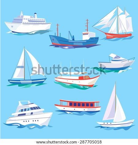 Set of sea ships. Water carriage and maritime transport in flat design style. Side view vector illustration. - stock vector