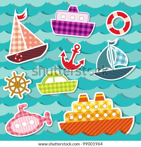 Set of sea transport stickers. Eps 10 - stock vector