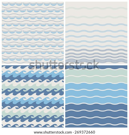 Set of sea waves. Seamless patterns in beige, turquoise and dark blue colors. Vector illustration. - stock vector