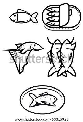 Set of seafood and fish symbols or logo template. Jpeg version also available in gallery - stock vector