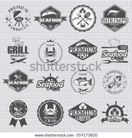 set of seafood labels and signs - stock vector