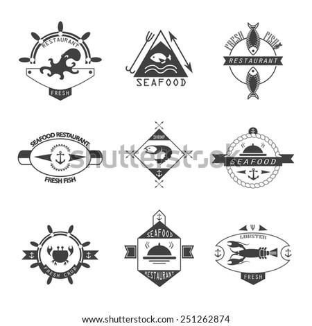 Set of seafood logos. - stock vector