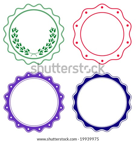 Set of seals or stickers with soft wavy edge in colors.