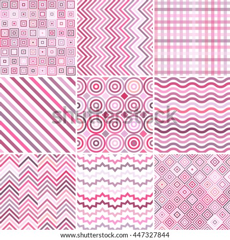 Set of seamless abstract background, 9 geometric pattern, vector illustration. Pastel pink, white colors. Texture can be used for printing onto fabric and paper  - stock vector