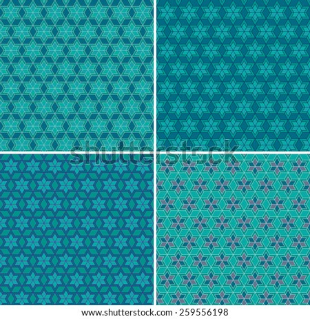 Set of seamless abstract geometric patterns. Traditional Ukrainian ornament. Hipster background. - stock vector