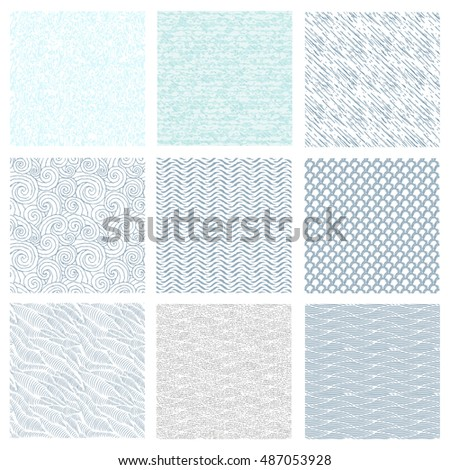 Set of seamless abstract pattern, waves background