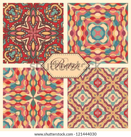 Set of seamless abstract retro patterns - stock vector