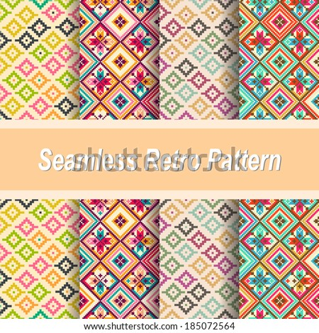 Set of seamless abstract retro patterns. Seamless background can be used for wallpaper, pattern fills, web page background, surface textures. - stock vector