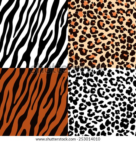 Set of seamless animal patterns for textile design / Vector illustration - stock vector