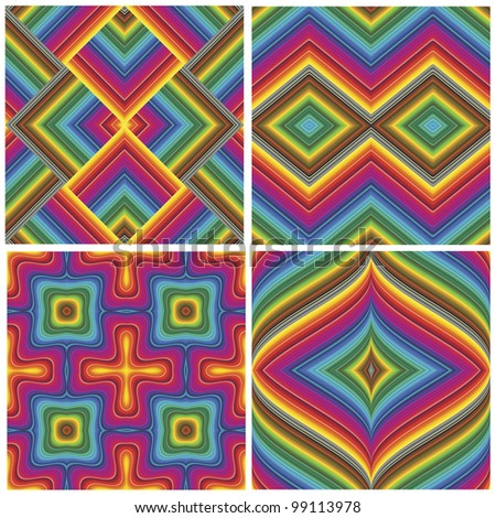 Set of seamless art deco textures and pattern in vivid and bright rainbow colors - stock vector
