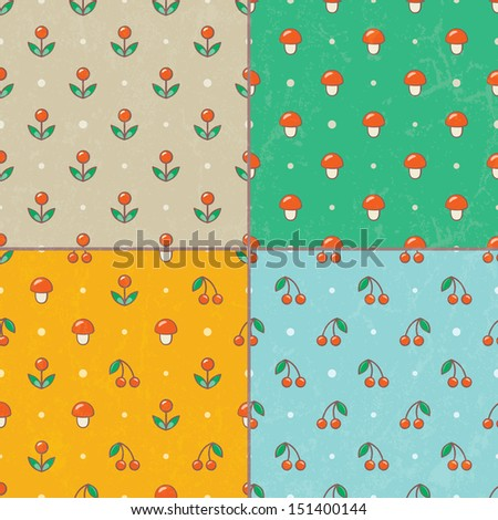 Set of seamless baby patterns. EPS 10 vector illustration. CMYK. Contains grunge texture with opacity and blending mode. - stock vector