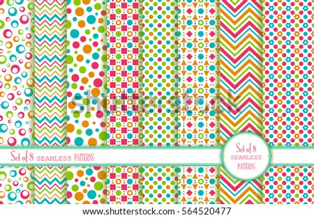 Set of 8 seamless background. Geometric ornament. Summer pattern with flowers, circles, squares, stripes and chevrons. Use for wallpaper, printing on the packaging paper, textiles.