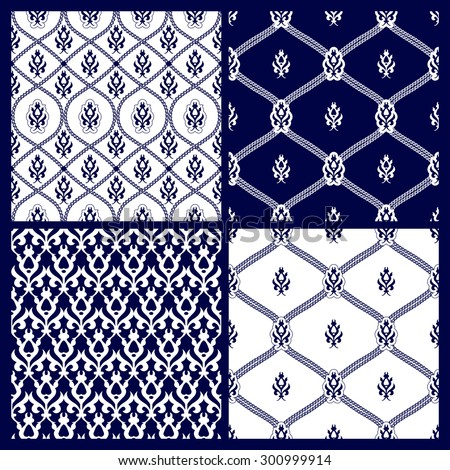 Set of seamless  background.Navy blue and white ornaments. Geometric patterns. Vector illustration - stock vector